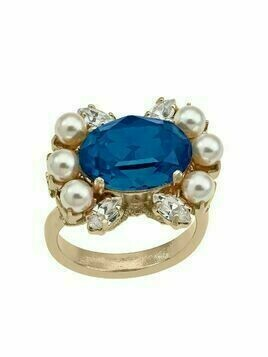 Anton Heunis crystal pearl-embellished cocktail ring - Blue