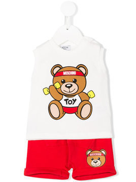 Moschino Kids Teddy logo print T-shirt and shorts set - Nude & Neutrals