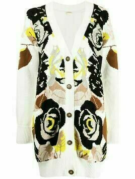 Adam Lippes floral-pattern intarsia cardigan - White