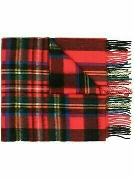 Begg & Co tartan plaid wool scarf - RED