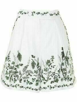 Erdem Howard fern-print linen shorts - White