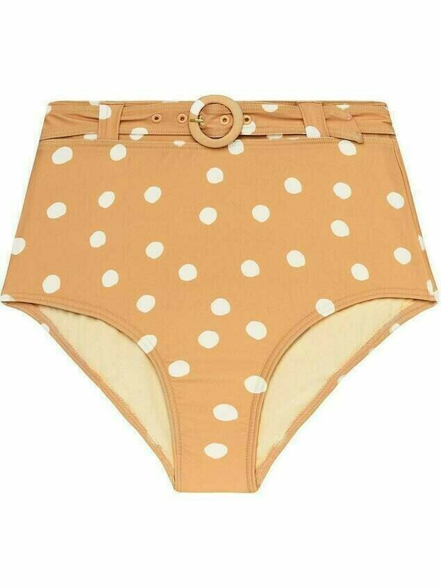 Peony polka-dot high-rise bikini bottoms - Neutrals
