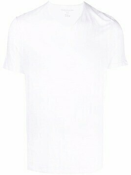 Majestic Filatures V-neck linen-blend T-shirt - White