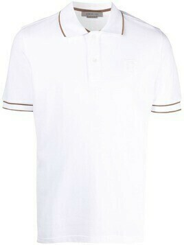 Corneliani embroidered-logo cotton polo shirt - White