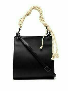 Y's rope-handle leather mini bag - Black