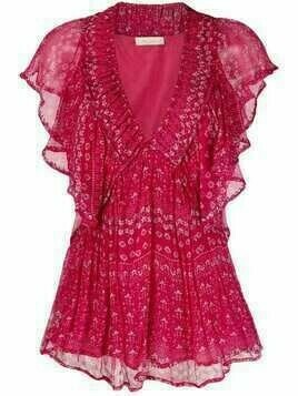 Mes Demoiselles V-neck tiered dress - Pink
