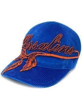 Borsalino embroidered logo corduroy cap - Blue