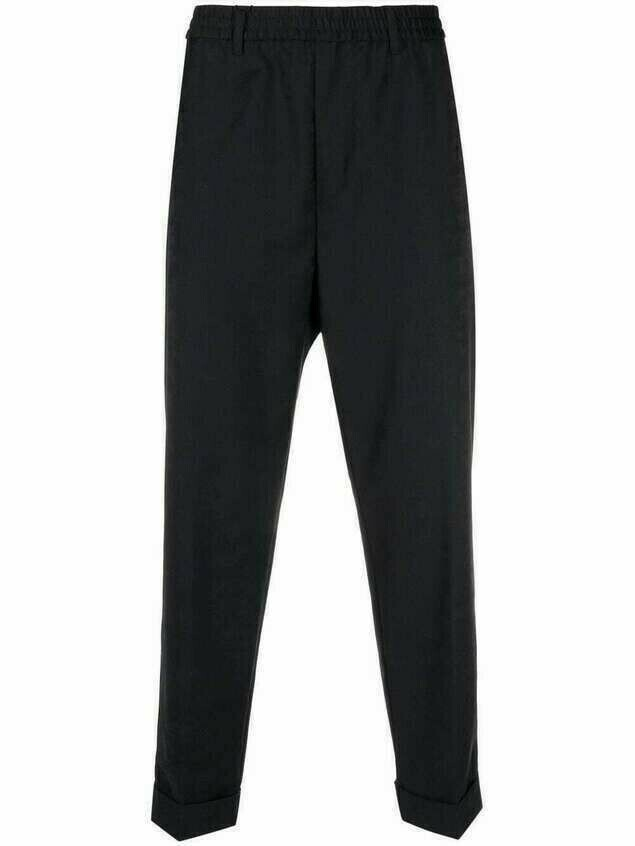 Emporio Armani high-rise camouflage cropped trousers - Blue