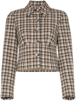 Beaufille Haring checked cropped jacket - NEUTRALS