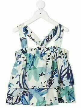 Il Gufo floral-print tiered sleeveless blouse - White