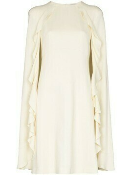 Giambattista Valli ruffle cape silk mini dress - Neutrals