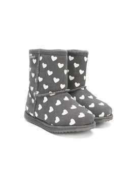 Emu Kids heart print boots - Grey