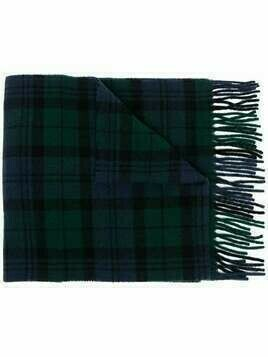Polo Ralph Lauren plaid print recycled wool-blend scarf - Blue