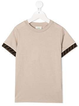 Fendi Kids logo trim cotton T-shirt - Neutrals
