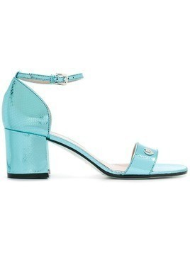 Pollini laminated leather sandals - Blue