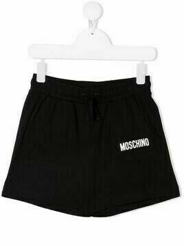Moschino Kids logo-embellished jersey shorts - Black