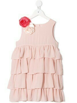 Charabia floral appliqué tiered dress - PINK