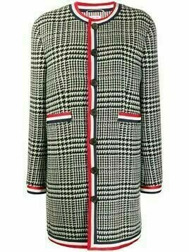 Thom Browne check pattern cashmere coat - 980 BLK/WHT