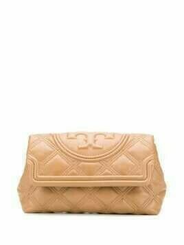 Tory Burch Fleming quilted-effect clutch bag - Brown