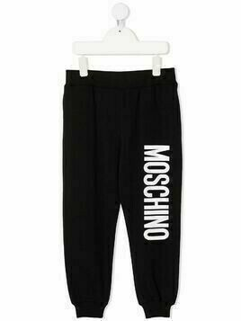 Moschino Kids logo print track pants - Black