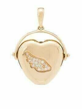 Loquet 14kt yellow gold diamond heart pendant