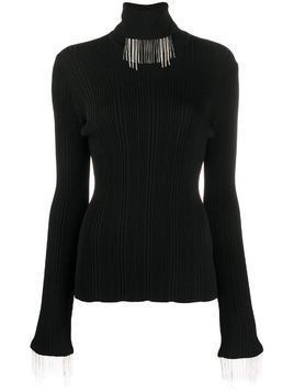 Ellery ribbed knit fringed neck jumper - Black