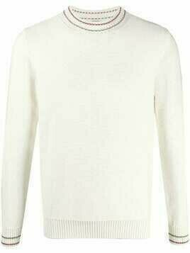Eleventy contrast-trim knitted jumper - White