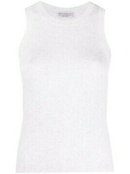 Brunello Cucinelli sleeveless ribbed knit top - Neutrals