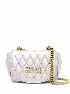 Versace Jeans Couture metallic-tone quilted shoulder bag - PURPLE