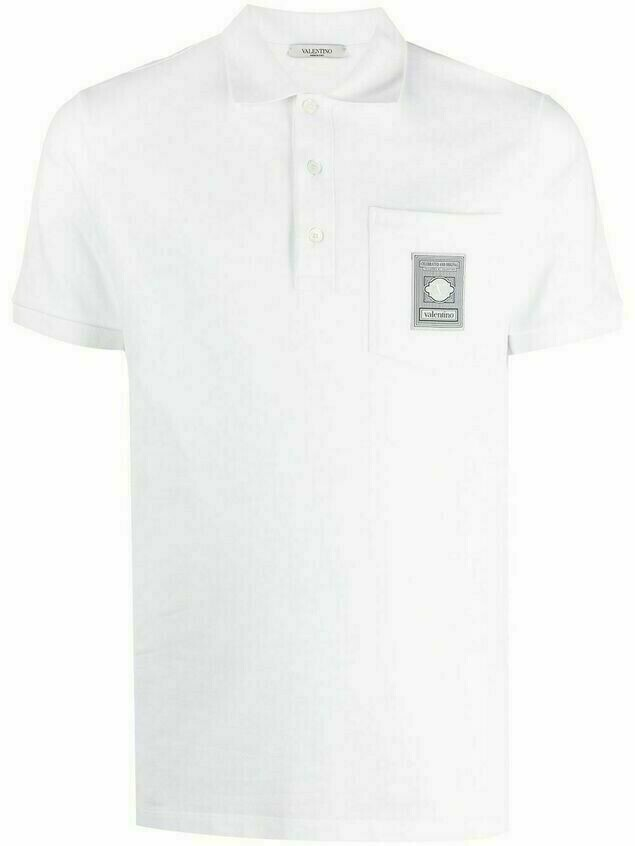 Valentino logo patch polo shirt - White