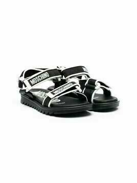Moschino Kids logo strap sandals - Black