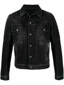 Balmain multi-pocket logo denim jacket - Black