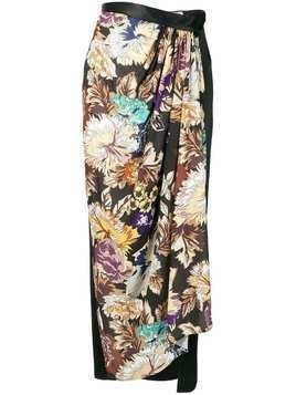 Act N°1 floral draped skirt - Black