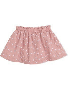Burberry Kids Embroidered Cotton Gathered Skirt - Pink