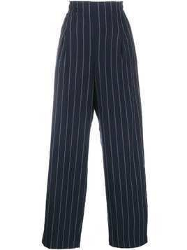 Ganni pinstripe wide leg trousers - Blue