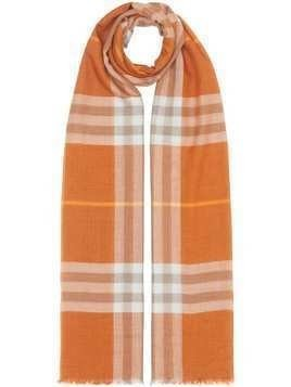 Burberry lightweight check scarf - ORANGE