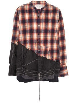 Greg Lauren contrast distressed shirt - Black