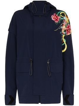 Angel Chen floral print placement parka - Blue