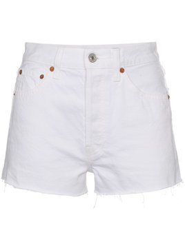 Re/Done High-Waisted Denim Shorts - White