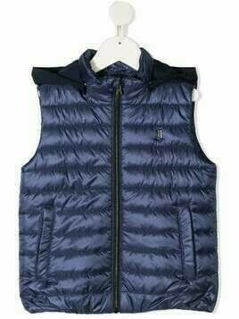 Herno Kids logo plaque padded gilet - Blue