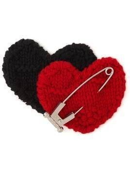 Prada knitted double heart pin - Red