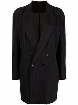 Y's double-breasted long blazer jacket - Black