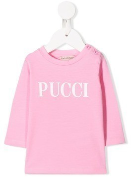 Emilio Pucci Junior logo print long-sleeved T-shirt - Pink
