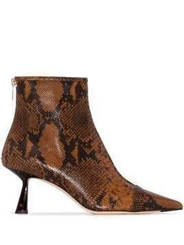 Jimmy Choo Kix snakeskin-effect ankle boots - Brown