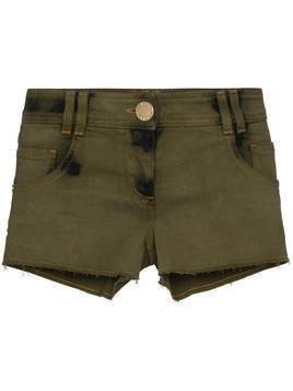 Balmain distressed stretch-denim shorts - Green