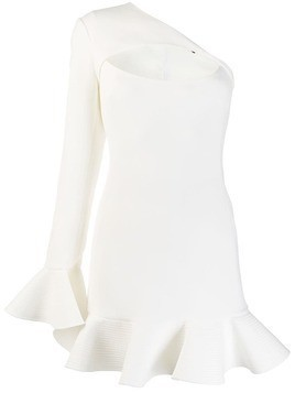 David Koma cut-out ruffled dress - White