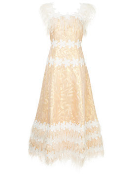 Huishan Zhang feather embellished dress - Metallic