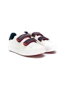 Tommy Hilfiger Junior logo touch strap sneakers - White
