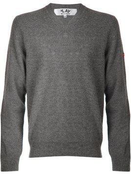 Comme Des Garçons Play mini heart v-neck sweater - Grey