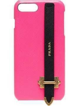 Prada pink logo strap iPhone 8 Plus case - Pink & Purple